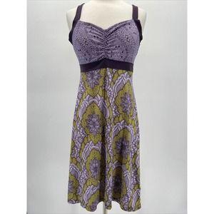Prana Lavender and Green Print Shirred Bust Dress